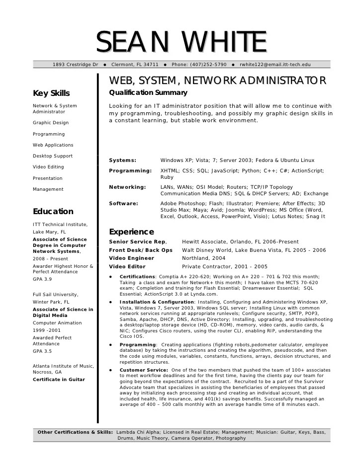 doc system administrator resume template systems admin resume junior network administrator resume