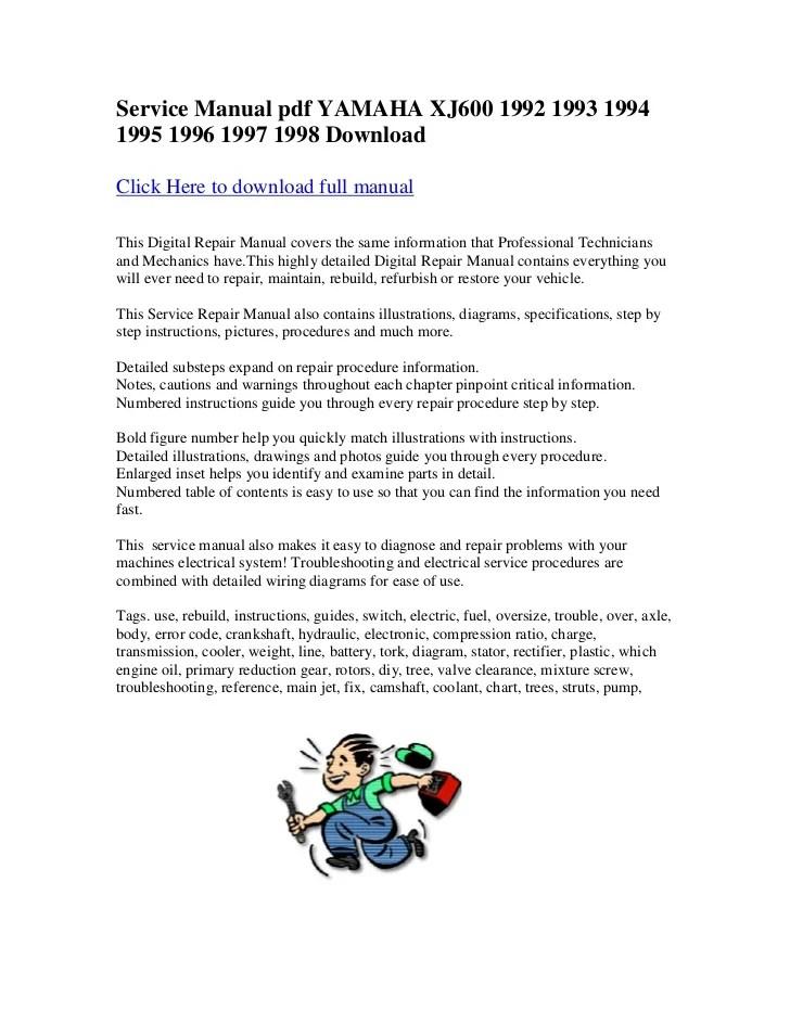 Service manual pdf yamaha xj600 1992 1993 1994 1995 1996 1997 1998 do…