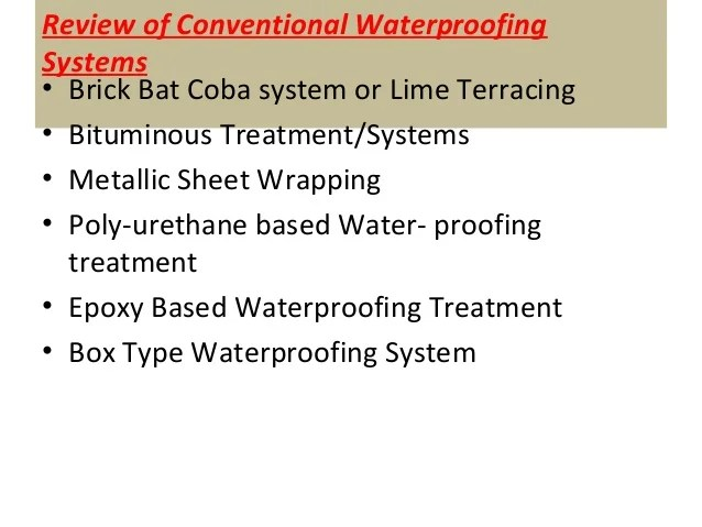 Session 2 Water Proofing