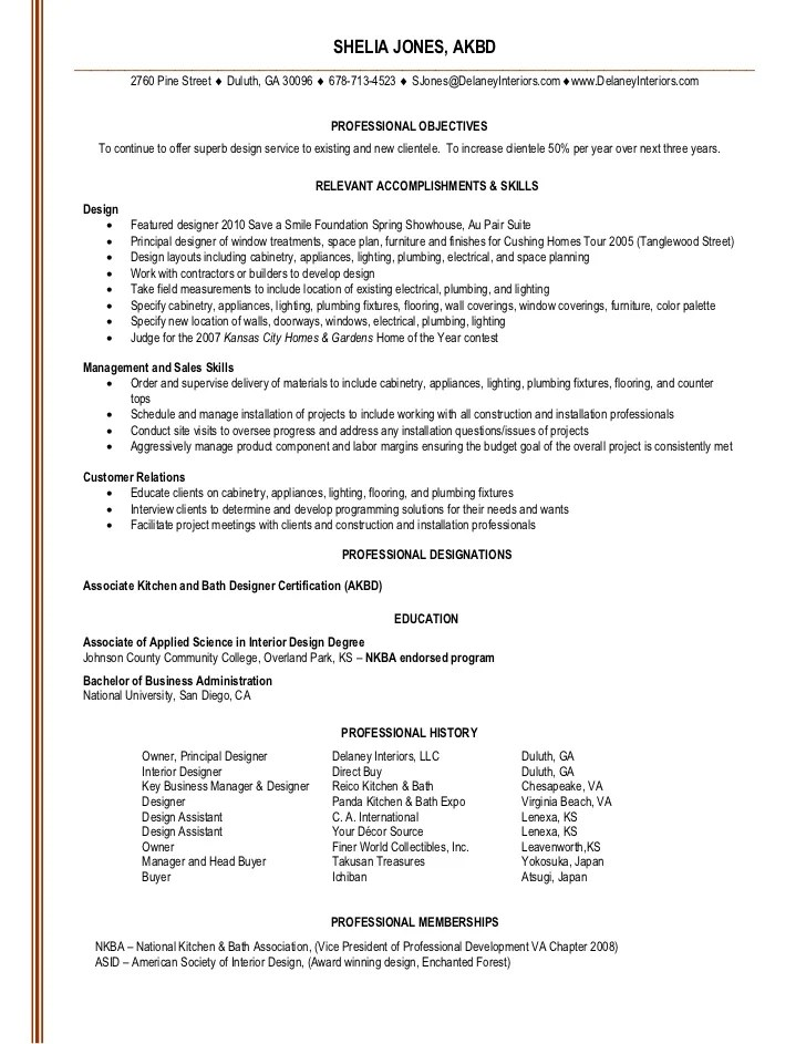 Senior Interior Designer Resume. sample resume of architecture ...
