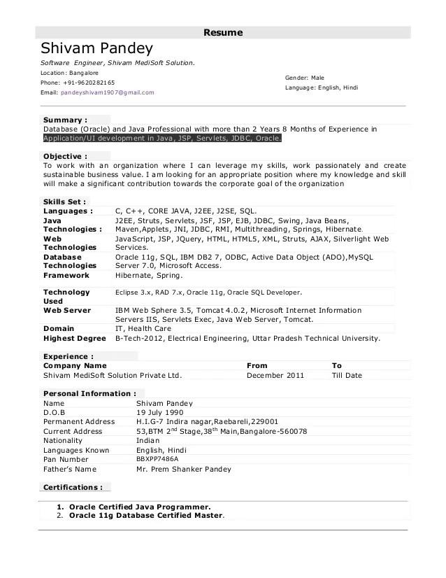 java developer resume sample doc java resumes free java developer