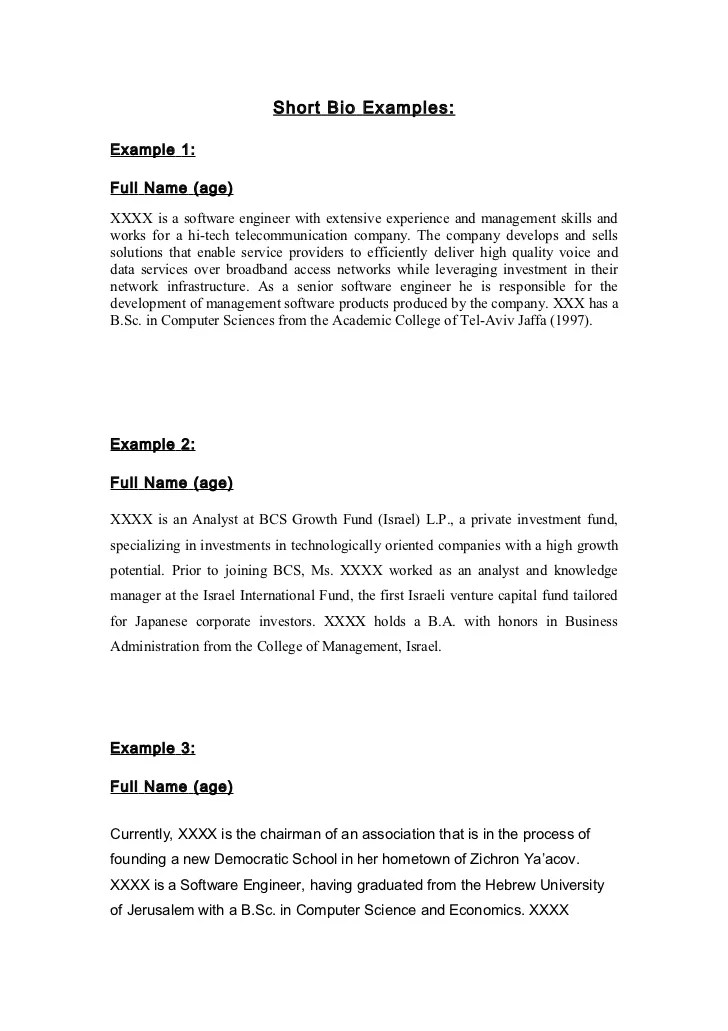 Short Bio Resume Sample. Short Bio Examples For College Students