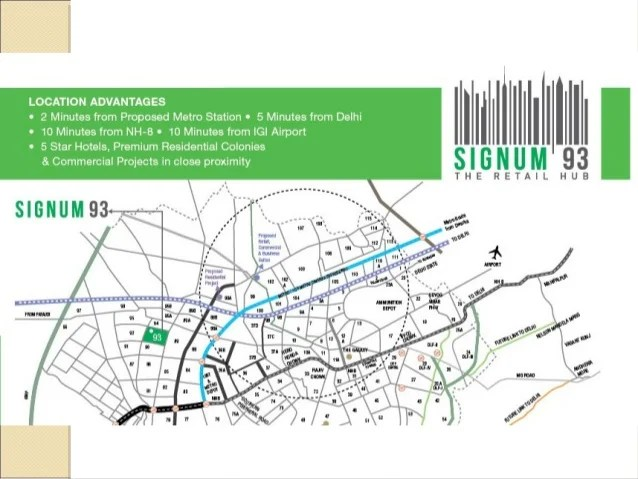 location map Signature global signum93 commercial retail shops in sector 93 gurgaon