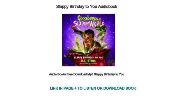 Audio Books Free Download Mp3 Slappy Birthday To You