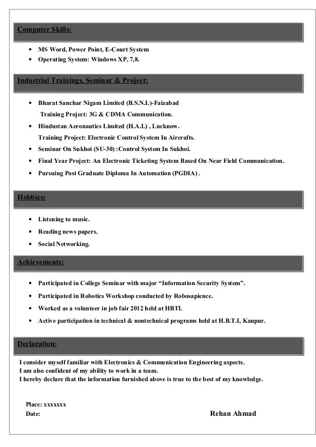 sample cv for electronics amp communications student