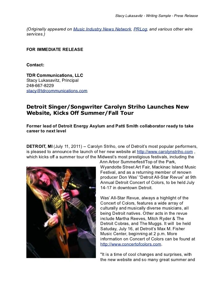 Writing Sample Musician Press Release