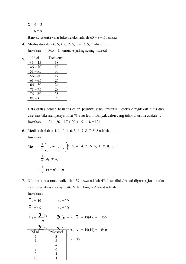 Diketahui x₁ = 5, x₂ = 7, x₃ = 4, x₄ = 6, x₅ = 3; Contoh Soal Statistika Matematika Dan Jawabannya Download Word