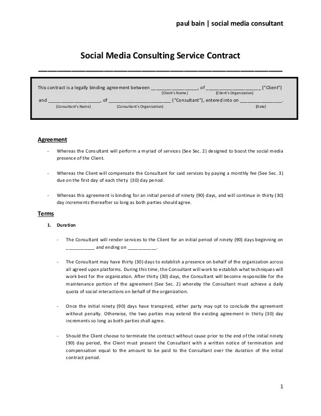 Consulting Services Agreement Template 12 consulting agreement – It Service Contract Template Free