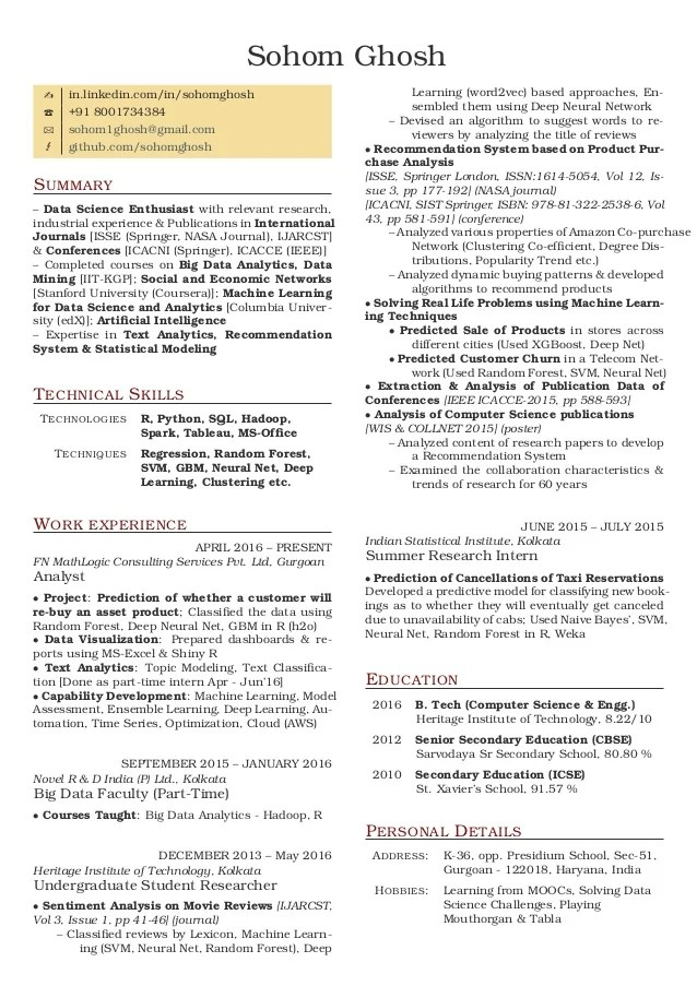 machine learning resume india best machine 2017