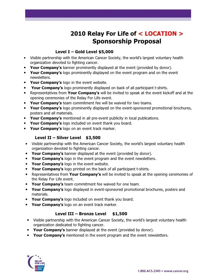 Sponsorship Package Template race car sponsorship proposal – Sponsorship Levels Template
