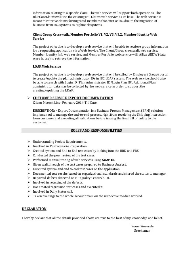 sreekumar software tester resume