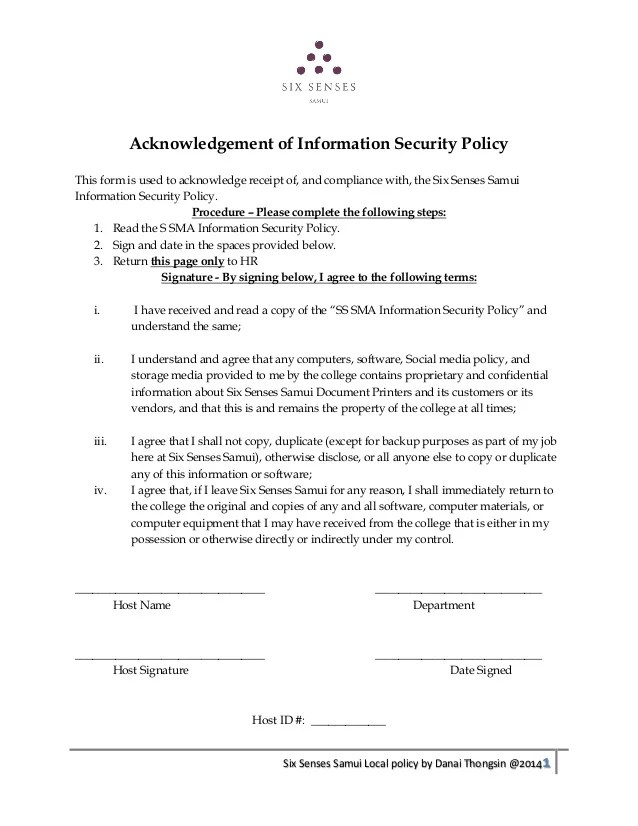 Information Security Policy Questionnaire