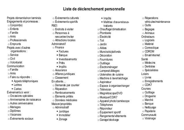 GTD Listes De Dclenchement Personelle Et Professionnelle
