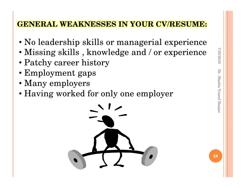 Weakness examples for resume