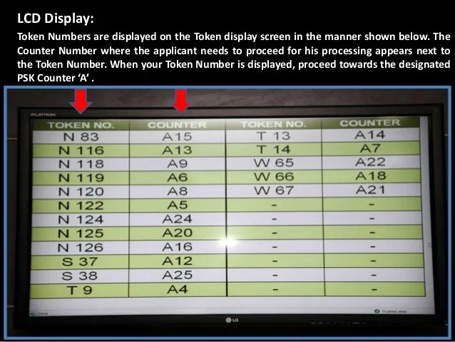 LCD Display: Token Numbers are displayed on the Token display screen in the manner shown below. The Counter Number where t...