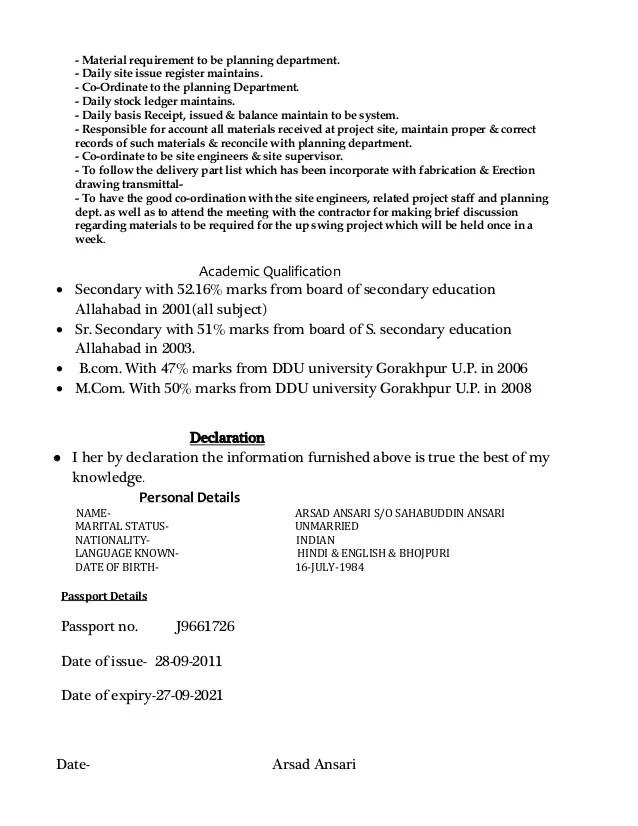 Timekeeper Cv Storekeeper Sample Resume 2