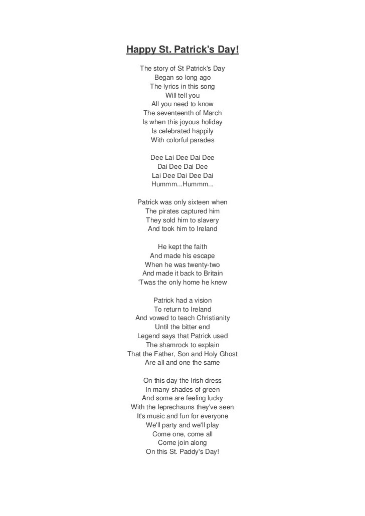 St patrick's day song lyrics and translation
