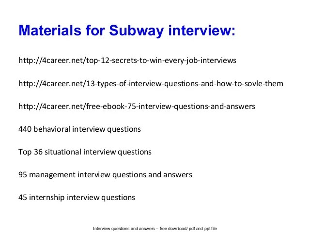 subway job description subway interview questions and answers - Subway Job Description Resume