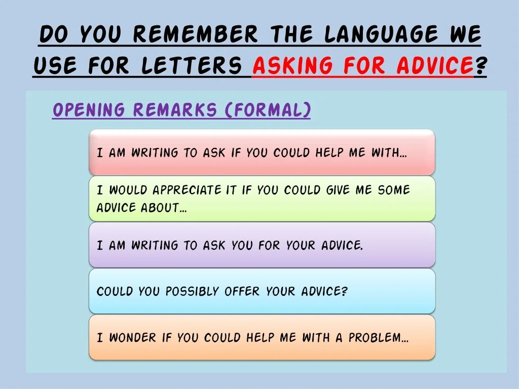 Letter Writing Giving Asking For Advice Amp Letters Of