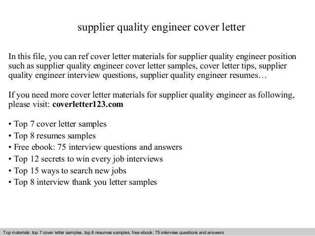 Resume For Quality Engineer Position. supplier quality engineer ...