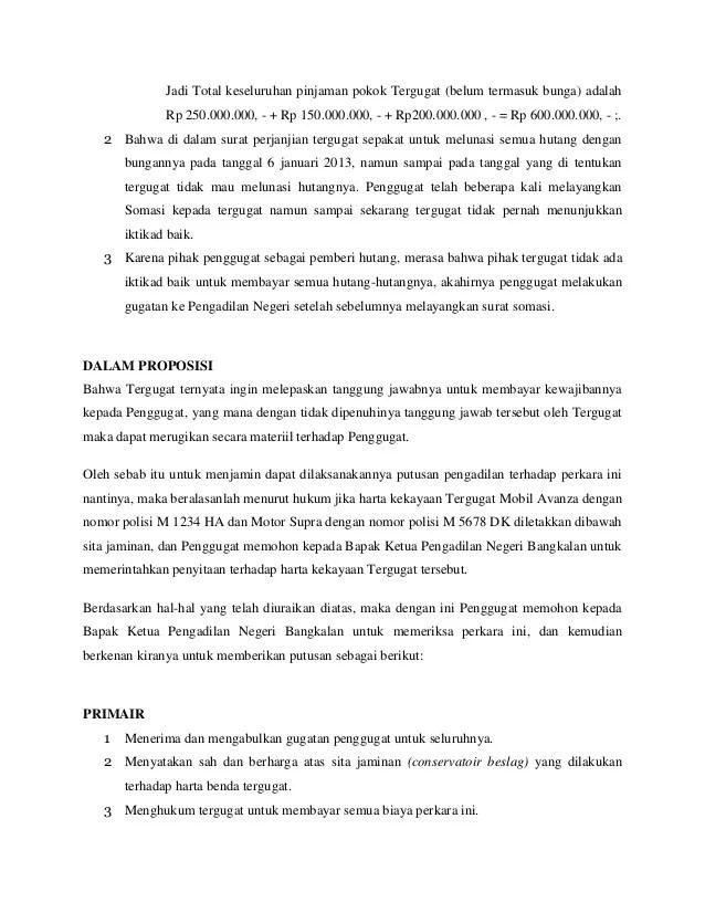 Contoh Surat Gugatan Utang Piutang Dengan Jaminan Download Kumpulan Gambar