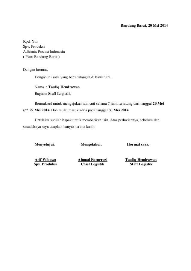 Contoh Surat Pengajuan Cuti Menikah Doc Backup Gambar
