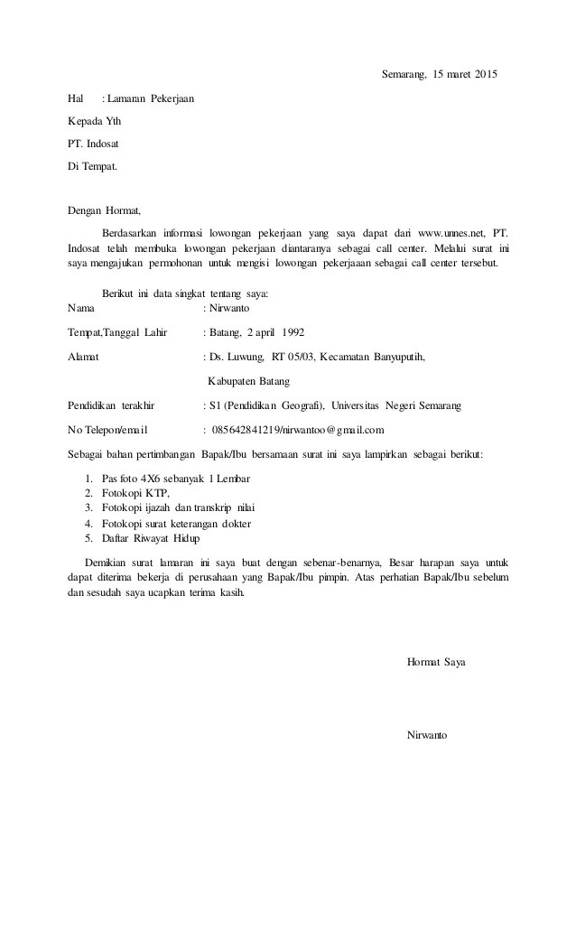 48 Contoh Surat Lamaran Kerja Ke Pt Telkom
