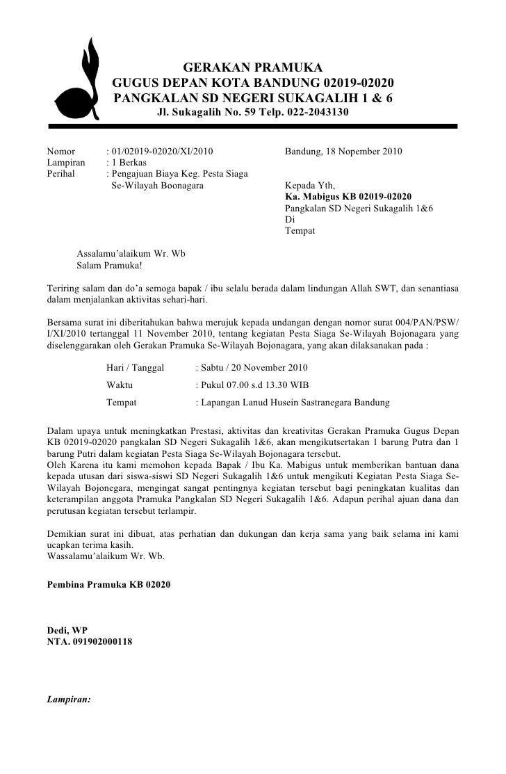 Contoh Surat Undangan Lomba Pramuka Surat 26
