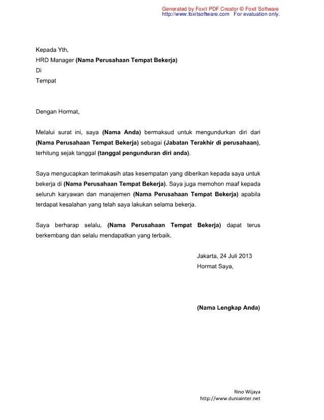 Contoh Surat Pengunduran Diri Kerja Resign Letter Lalod