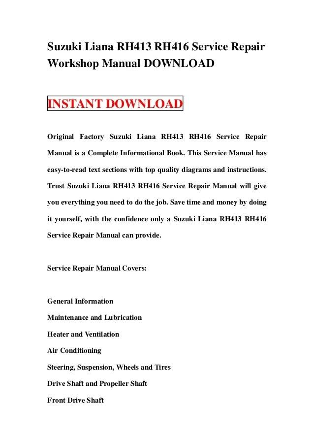 Suzuki liana rh413 rh416 service repair workshop manual