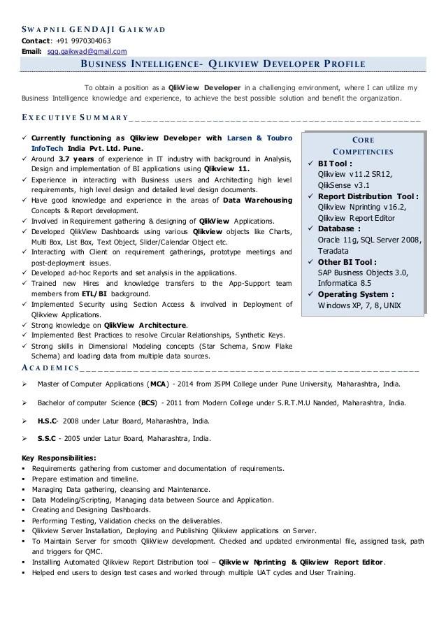Resume For Qlikview Developer Position