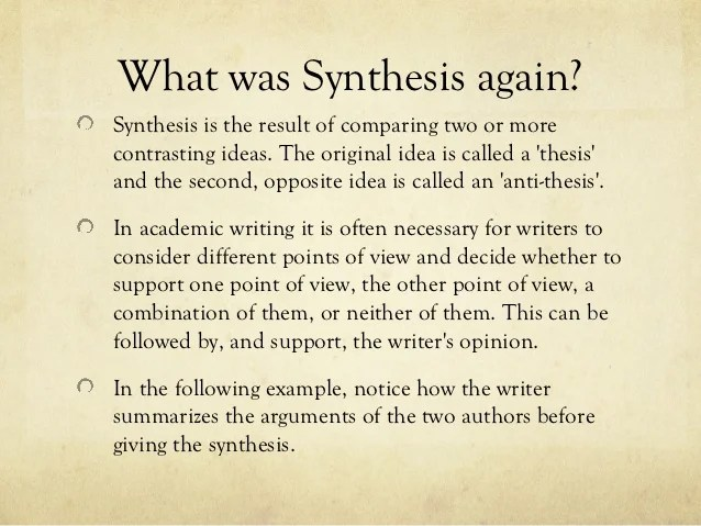Synthesis essay thesis structuring a research paper