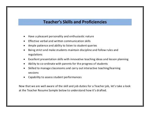 Teachers Resume Skills. child care teacher resume elementary ...