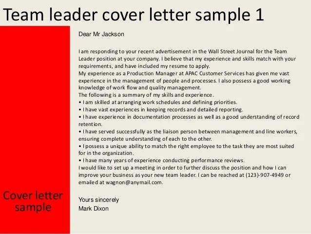 Team leader cover letter examples