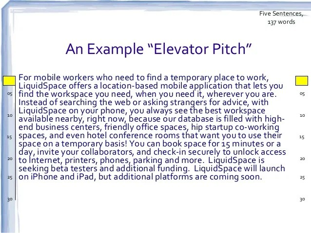 Elevator Pitch Template. elevator pitch for entrepreneur ...