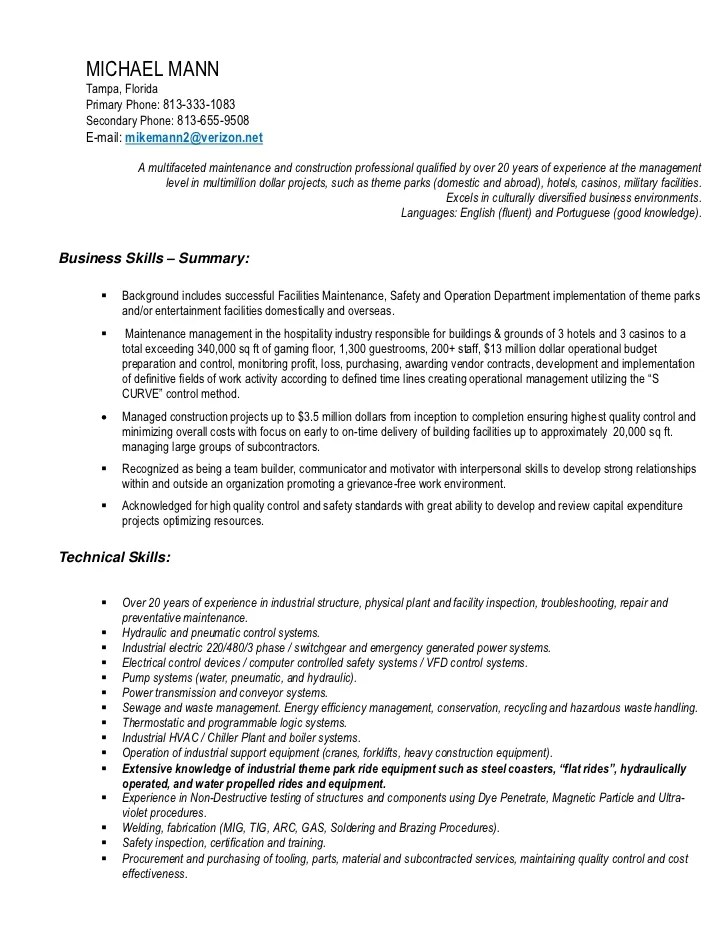 facility manager resume format one page professional resume