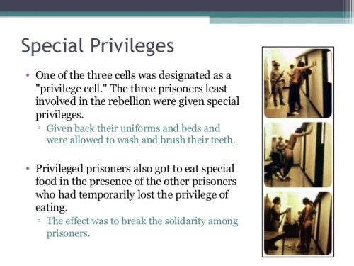 "Special Privileges • One of the three cells was designated as a ""privilege cell."" The three prisoners least involved in th..."