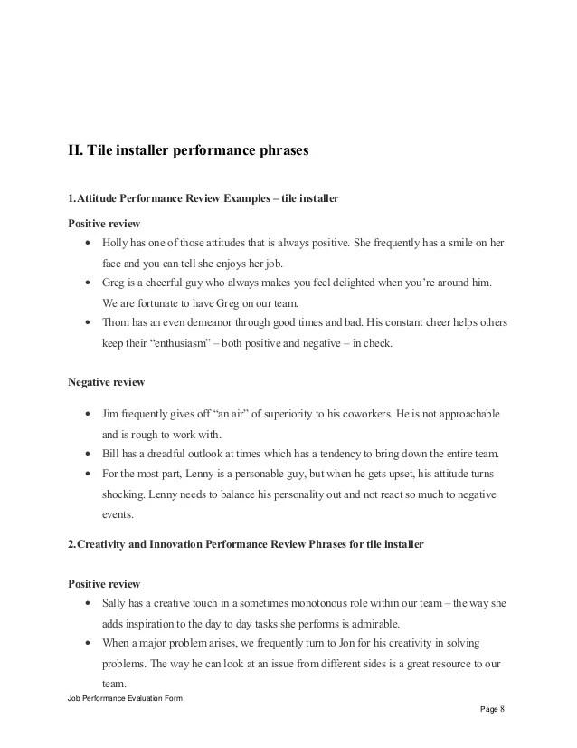 tile installer performance appraisal