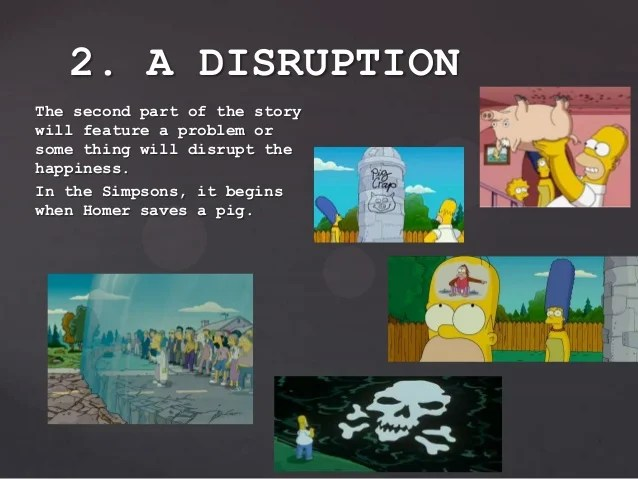 The second part of the story will feature a problem or some thing will disrupt the happiness. In the Simpsons, it begins w...