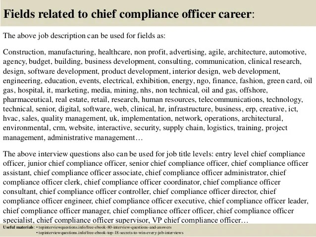 Top 10 Chief Compliance Officer Interview Questions And Answers