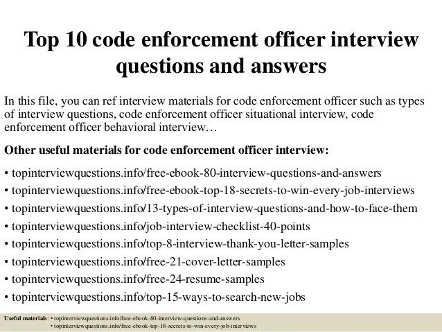 Top 10 Code Enforcement Officer Interview Questions And Answers