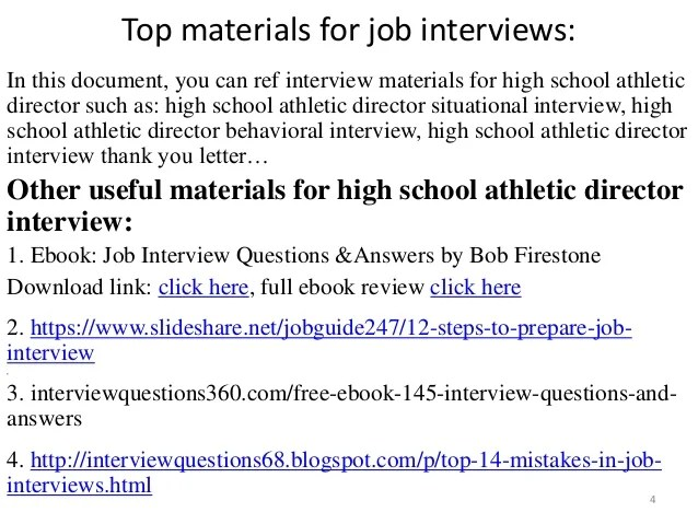 top 10 high school athletic director interview questions and answers