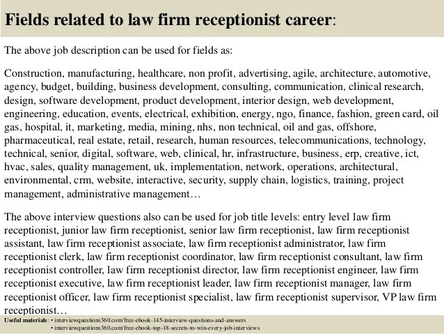 Law Firm Receptionist Resume Examples Professional Legal