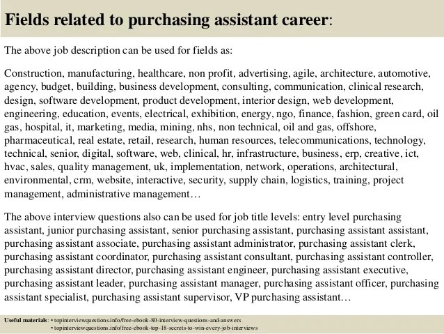 top 10 purchasing assistant interview questions and answers
