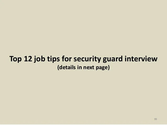 Security Guard Interview