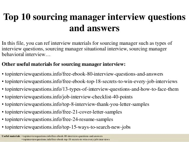 supply chain consultant resume top 10 sourcing manager interview