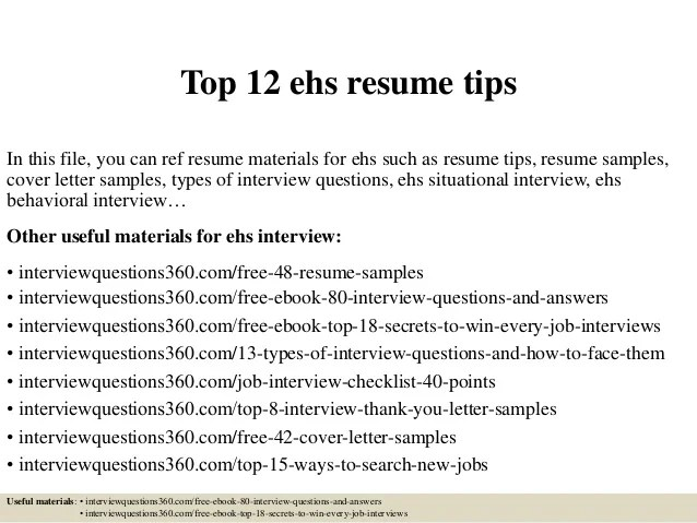 top ehs resume tips in this file you can ref resume materials for ehs