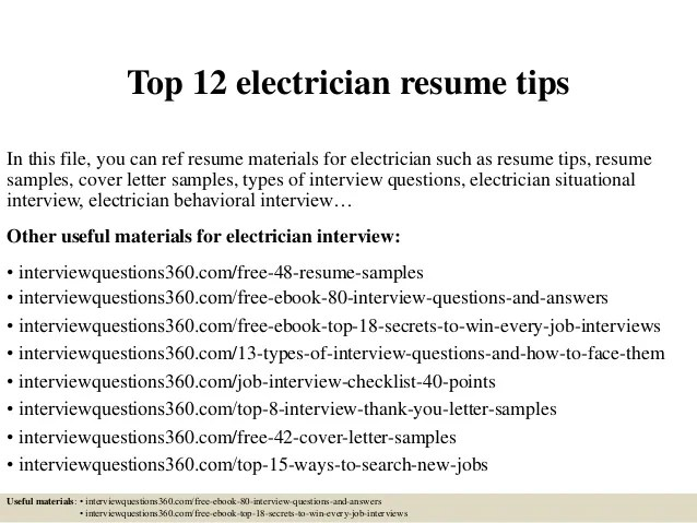Example Electrician Resume. Electrical Technician Resume Sample