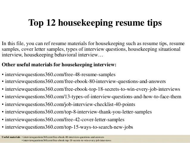 Housekeeping Resume Example. Housekeeping Sample Resume Hotel