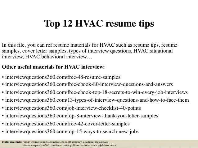 job resume hvac hvac volumetrics co